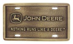 Montana Silversmiths John Deere Rectangular Brass Attitude Belt Buckle, , hi-res