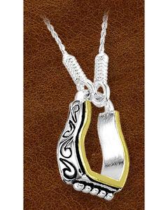 Kelly Herd Sterling Silver Fancy Engraved Stirrup Necklace, , hi-res