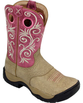 Twisted X Pink All Around Cowgirl Boots - Round Toe, Tan, hi-res