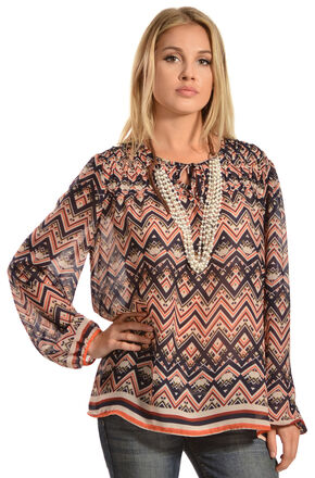 Red Ranch Women's Blue Chevron Tie Blouse, Blue, hi-res