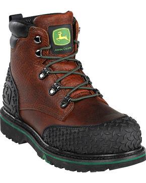 """John Deere Men's 6"""" Lace-Up Work Boots - Steel Toe, Dark Brown, hi-res"""