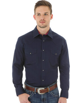 Wrangler 20X Advanced Comfort Men's Navy Button Shirt, Navy, hi-res