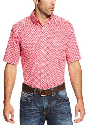 Ariat Men's Red Nocona Print Short Sleeve Shirt , Red, hi-res