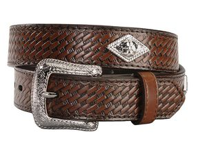 Exclusive Gibson Trading Company Kids' Basketweave Concho Belt, Brown, hi-res
