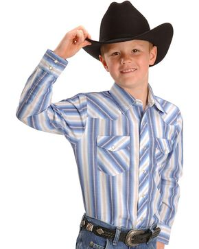 Wrangler Boys' Assorted Striped Western Shirt - 2-20, Stripe, hi-res