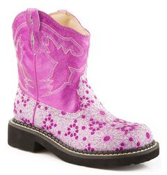 Roper Children's Chunk Glittery Flower Cowgirl Boots - Round Toe, , hi-res