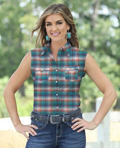 Wrangler Women's Sleeveless Plaid Shirt, , hi-res