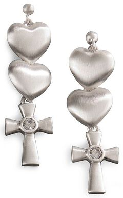 Montana Silversmiths Hearts & Cross Dangle Earrings, Silver, hi-res