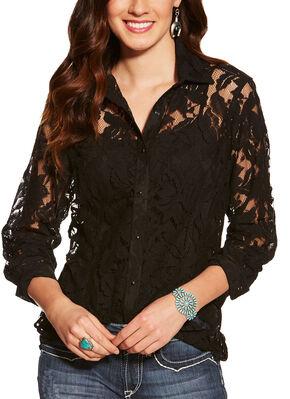 Ariat Women's Black Lace Snap Shirt , Black, hi-res