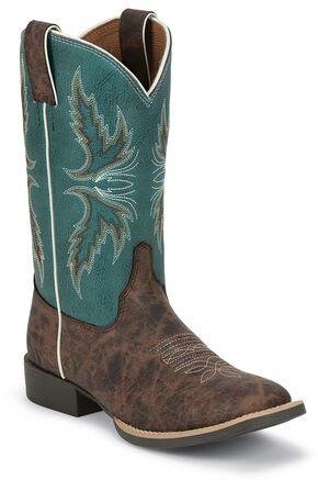 Justin Children's Bent Rail Cowboy Boots - Square Toe, Brown, hi-res