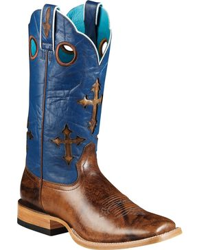 Ariat Ranch Cross Inlay Cowboy Boots - Square Toe, Brown, hi-res