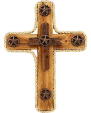 Western Moments Star Wooden Wall Cross, Brown, hi-res