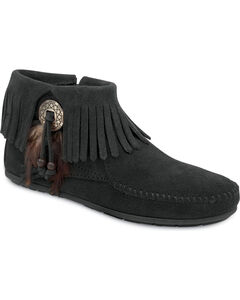 Minnetonka Feather & Concho Fringe Bootie Moccasins, , hi-res
