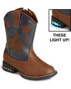 Roper Toddler Boys' Light Up Bronco Cowboy Boots, Tan, hi-res