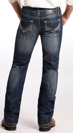 Rock and Roll Cowboy Men's Dark Vintage Pistol Bootcut Jeans , Indigo, hi-res