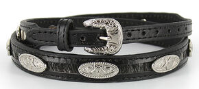 Cody James Leather Oval Concho Hair-on-Hide Hat Band, Black, hi-res