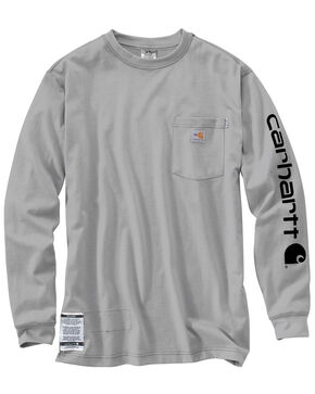 Carhartt Flame Resistant Force Cotton Graphic Long Sleeve Shirt - Big & Tall, Grey, hi-res