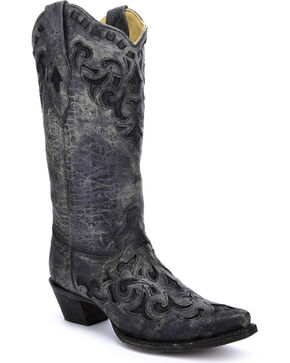 Corral Women's Stingray Inlay Cowgirl Boots - Snip Toe, Grey, hi-res