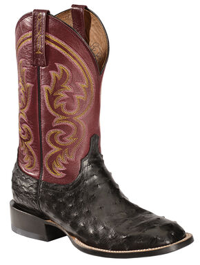 Lucchese Handcrafted 1883 Josiah Full Quill Ostrich Cowboy Boots - Square Toe, Black, hi-res