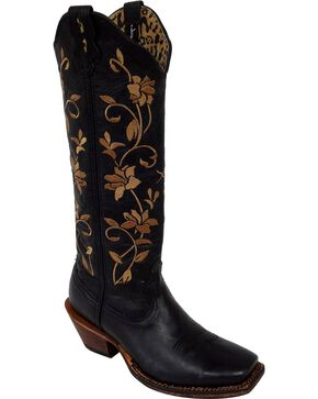 Twisted X Steppin' Out Floral Embroidered Cowgirl Boots - Square Toe, Black, hi-res