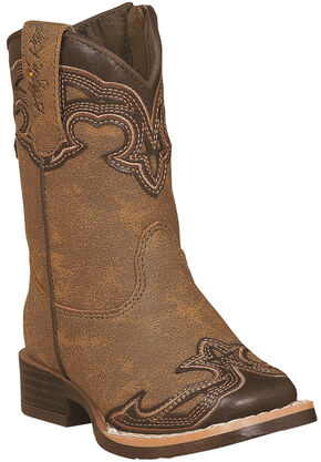 Blazin Roxx Toddler Girls' Samantha Zipper Cowgirl Boots - Square Toe, Brown, hi-res