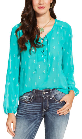 Ariat Women's Teal Sugar Tunic , Teal, hi-res
