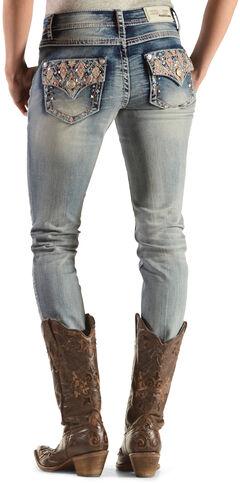 Grace in LA Women's Embellished Flap Pocket Skinny Jeans , , hi-res