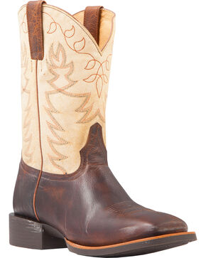 Cody James Men's Embroidered Montana Performance Boots - Square Toe, Brown, hi-res