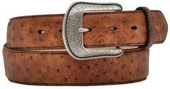3D Vintage Ostrich Print Leather Belt, , hi-res