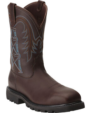 Ariat Men's Wildcatter Flame-Resistant Pull-On Work Boots - Composite Toe, Chocolate, hi-res