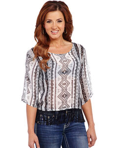 Cowgirl Up Women's Geometric Printed Chiffon Top with Fringe, , hi-res