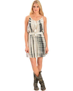 Miss Me Women's Black & White Tie-Dye Dress, Lt Grey, hi-res