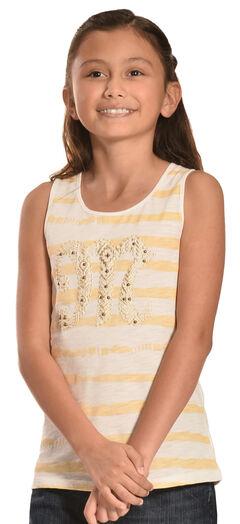 Miss Me Girls' Stripe Logo Tank Top, White, hi-res