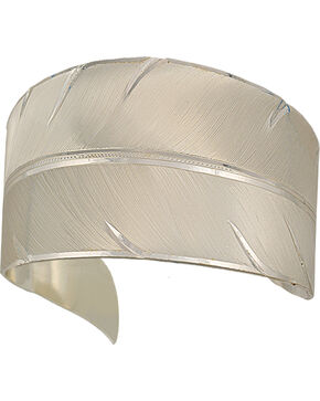 "Montana Silversmiths ""To Fly with Strength and Grace Feather"" Cuff Bracelet, Silver, hi-res"