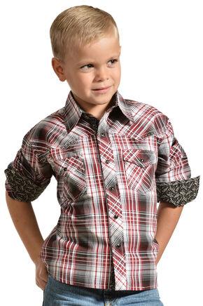 Red Ranch Boys' Long Sleeve Plaid Contrast Shirt, Black, hi-res
