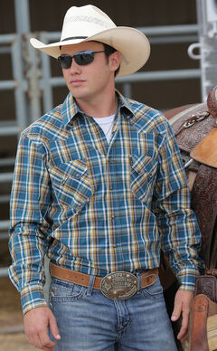 Cinch Men's Blue and Gold Plaid Modern Fit Double Pocket Western Shirt, , hi-res