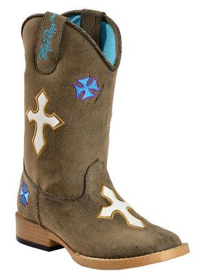 Blazin Roxx Girls' Sierra Cowgirl Boots - Square Toe, Brown, hi-res