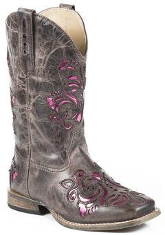 Roper Girls' Pink Belle Underlay Cowgirl Boots, , hi-res