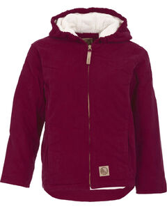 Berne Youth Girls' Washed Sherpa-Lined Hooded Jacket, , hi-res