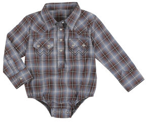 Wrangler Infant Boys Long Sleeve 2 Pocket Plaid Bodysuit, Brown, hi-res