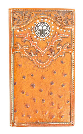 Nocona Ostrich Print Cross Concho Rodeo Wallet, Tan, hi-res
