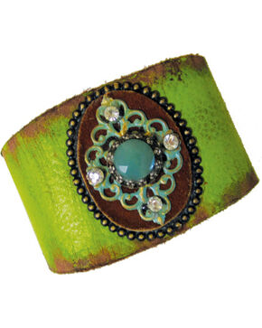 Cowgirl Confetti Leather with Patina Medallion Cuff, Lt Green, hi-res