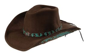 Bullhide Natural Beauty Premium Wool Cowgirl Hat, Chocolate, hi-res