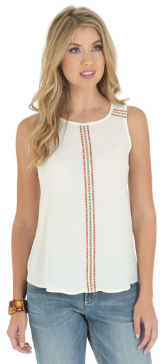 Wrangler Women's Sleeveless Embroidered Tape Shirt, , hi-res
