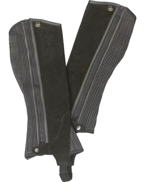 Ovation Kids' Ribbed Suede Half Chaps, Black, hi-res