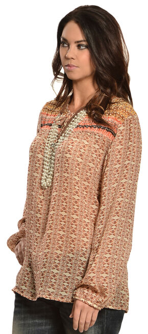 Red Ranch Women's Tan Bohemian Print Tie Blouse, Multi, hi-res