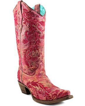 Corral Women's Side Embroidery Crackle Cowgirl Boots - Snip Toe , Red, hi-res