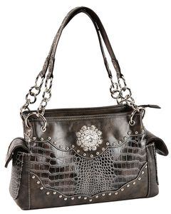 Blazin Roxx Croc Print Faux Leather Studded Concealed Carry Satchel Bag, , hi-res