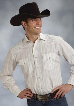 Roper Men's White Snap Stripe Lurex Western Shirt, , hi-res