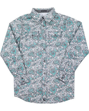 Cody James Boys' Rodeo Paisley Long Sleeve Shirt , Grey, hi-res